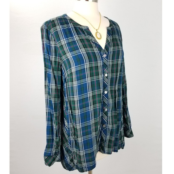 4b31d605a1b J. Jill Tops | J Jill Top Petite Button Down Tunic Plaid Vneck ...
